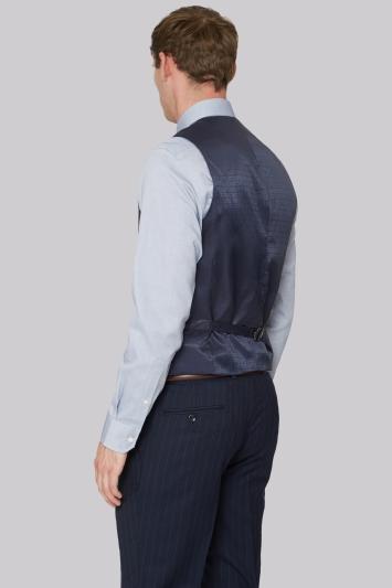 Hardy Amies Tailored Fit Navy Stripe Waistcoat