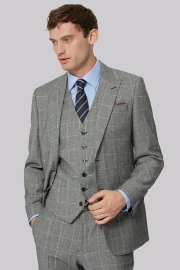 Hardy Amies Tailored Fit Grey Check Jacket