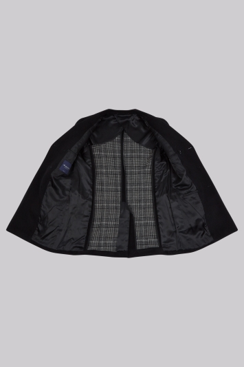 Hardy Amies Black Double Breasted Double Face Overcoat
