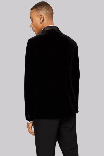 Moss London Double Breasted Black Velvet Jacket