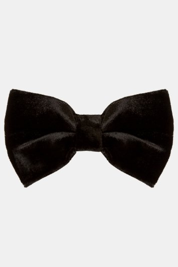 Moss London Black Velvet Bow Tie