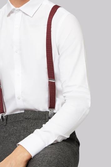 Burgundy Spot Skinny Clip-On Braces
