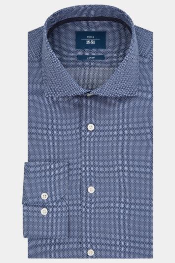 Moss 1851 Slim Fit Navy Single Cuff Oval Print Shirt