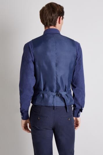 Moss 1851 Tailored Fit Blue White Windowpane Waistcoat