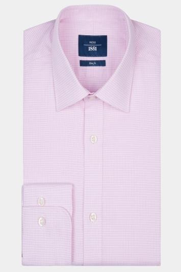 Moss 1851 Slim Fit Pink Single Cuff Puppytooth Shirt