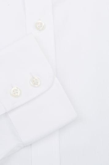 Savoy Taylors Guild Regular Fit White Single Cuff Puppytooth Shirt