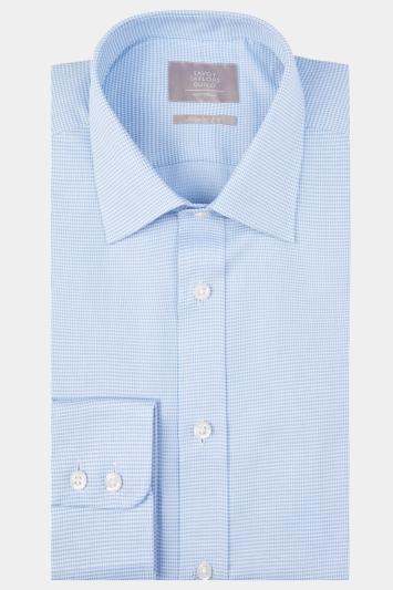 Savoy Taylors Guild Regular Fit Blue Single Cuff Tonal Spot Shirt