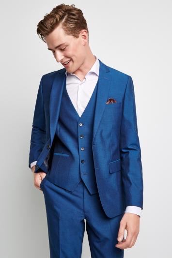 Moss London Skinny Fit Peacock Blue Jacket