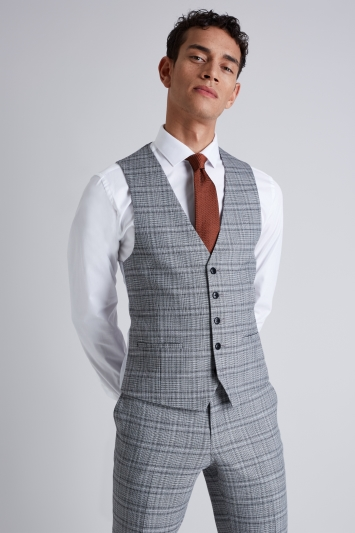 Moss London Skinny Fit Black and White Twist Check Jacket