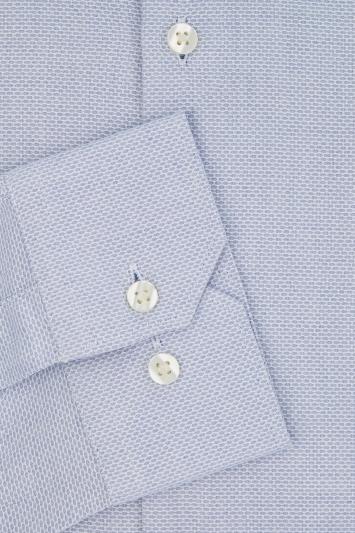 Moss London Extra Slim Fit Sky Single Cuff Oval Texture Shirt