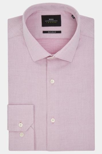 Moss London Extra Slim Fit Pink Single Cuff Oval Texture Shirt