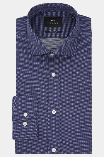 Moss London Premium Extra Slim Fit Navy Single Cuff Textured Shirt