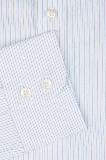 Savoy Taylors Guild Regular Fit Sky Single Cuff Herringbone Stripe Shirt