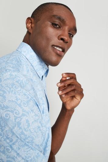 Moss Esq. Regular Fit Blue Short Sleeve Paisley Print Shirt