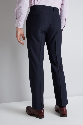 Moss Esquire Regular Fit Navy Micro Check Trousers
