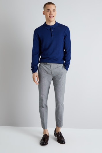 Moss London Skinny Fit Black and White Puppytooth Cropped Trousers