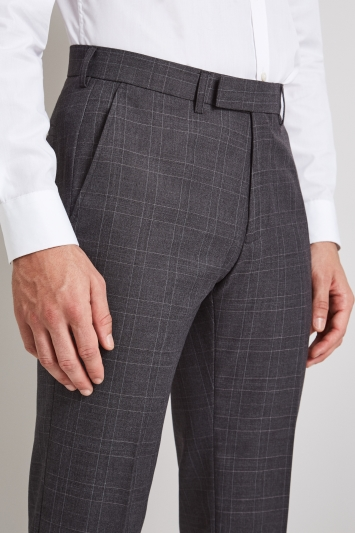 Moss London Skinny Fit Charcoal with Pink Windowpane Check Trousers
