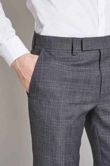 Moss London Skinny Fit Charcoal with Pink Windowpane Check Cropped Trousers