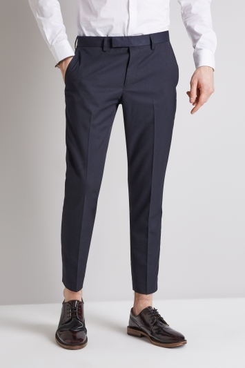 Moss London Skinny Fit Fit Navy Cropped Trousers