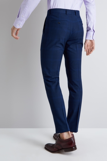 Moss London Skinny Fit Bold Blue Check Trousers