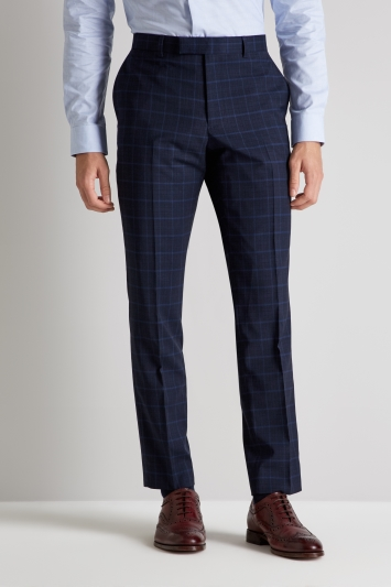 Moss London Skinny Fit Mid Blue Check Trousers