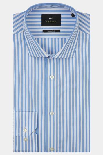 Moss London Premium Extra Slim Fit Sky Single Cuff Bengal Stripe Shirt