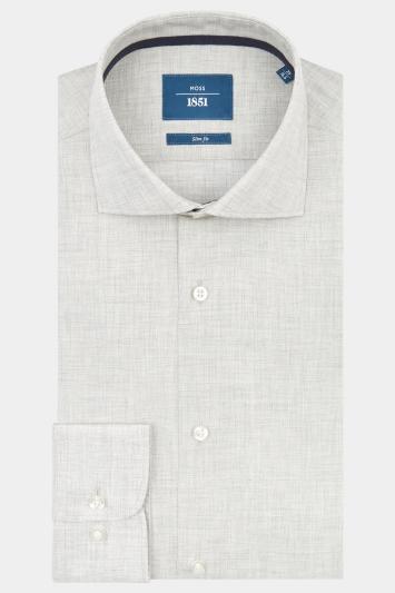 Moss 1851 Slim Fit Grey Single Cuff Melange Shirt