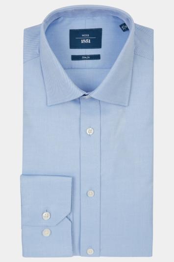 Moss 1851 Slim Fit Sky Single Cuff Twill Shirt