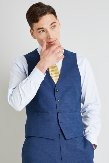 Moss Esq. Performance Regular Fit Blue Pindot Waistcoat