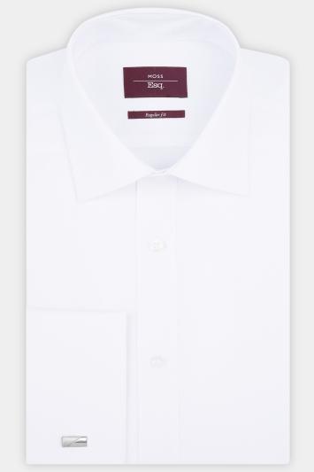Moss Esq. Regular Fit White Single Cuff Grid Check Shirt