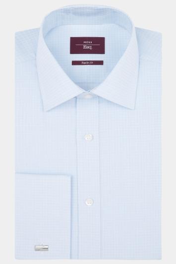 Moss Esq. Regular Fit Sky Single Cuff Grid Check Shirt