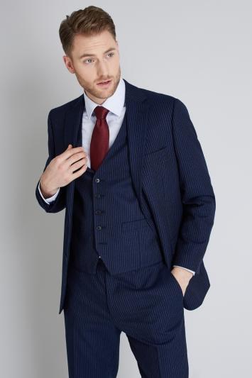 Moss Esq. Regular Fit Navy Milled Stripe Jacket