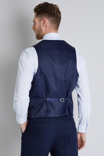 Moss Esq. Regular Fit Navy Milled Stripe Waistcoat