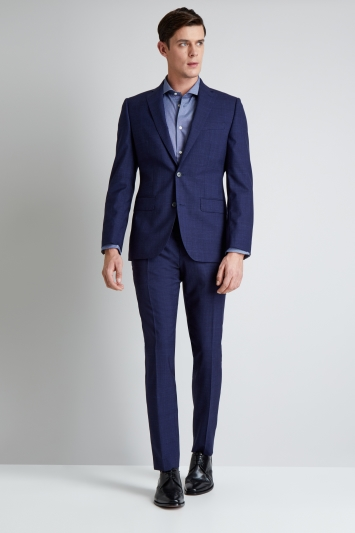 Moss 1851 Tailored Fit Navy Check Jacket