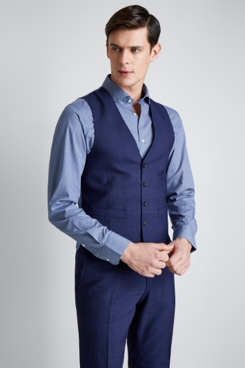 Moss 1851 Tailored Fit Navy Check Waistcoat