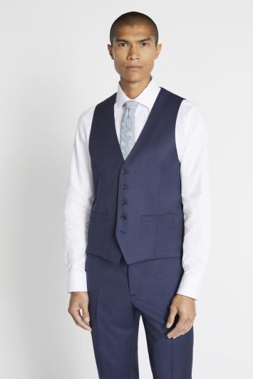 Savoy Taylors Guild Regular Fit Navy Twill Waistcoat