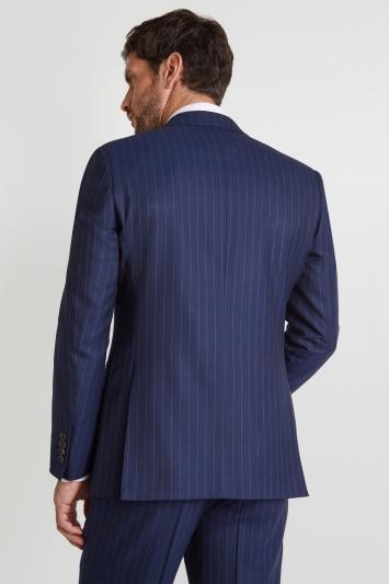 Savoy Taylors Guild Regular Fit Blue Wide Stripe Jacket
