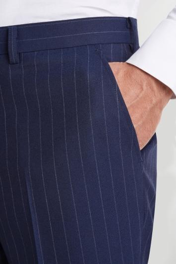 Savoy Taylors Guild Regular Fit Blue Wide Stripe Trouser