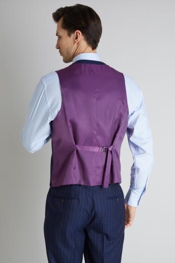 Savoy Taylors Guild Regular Fit Blue Wide Stripe Waistcoat