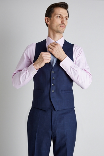 Savoy Taylors Guild Regular Fit Blue Prince of Wales Check Waistcoat