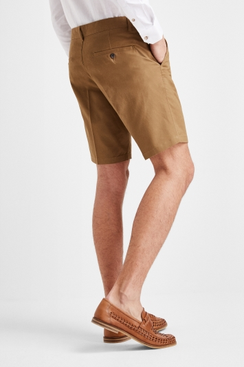 Moss 1851 Tailored Fit Tobacco Stretch Chino Shorts