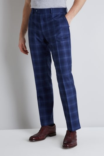 Ted Baker Tailored Fit Blue Bold Check Trousers