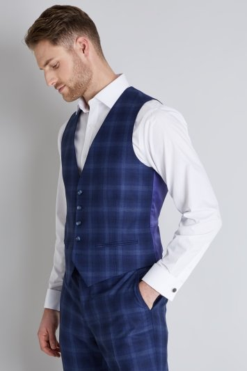 Ted Baker Tailored Fit Blue Bold Check Waistcoat
