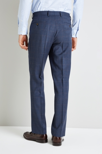 Ted Baker Gold Tailored Fit Blue with Rust Windowpane Trousers