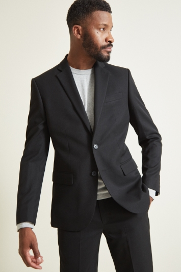 Moss 1851 Tailored Fit Plain Black Jacket