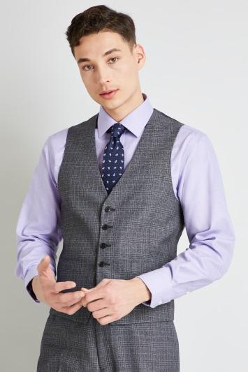 Moss Esq. Regular Fit Grey Marl Check Waistcoat
