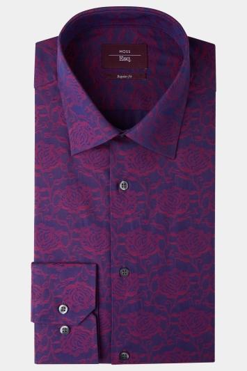 Moss Esq. Regular Fit Berry Single Cuff Floral Shirt