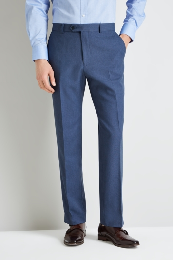 Moss Esq. Regular Fit Light Blue Birdseye Trouser
