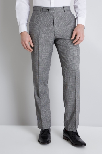 Moss Esq. Regular Fit Black & White Prince of Wales Check Trouser