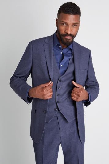 Moss Esq. Regular Fit Blue Sharkskin Jacket